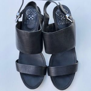 Vince Camuto Black Heels Leather Size 7.5